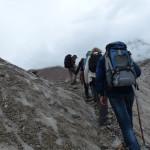 Trek über ein Gletscherfeld